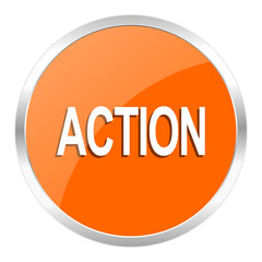 action orange glossy icon
