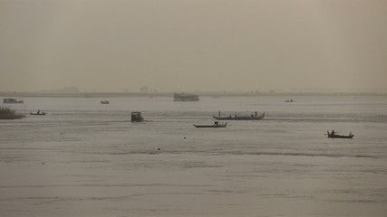 local fishing boats in the morning,  Mekong