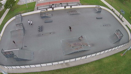 Aerial view of skateboarding park