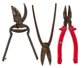 Old isolated tools:pliers, scissors for metal,