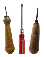 Old isolated tools:awl, screwdriver