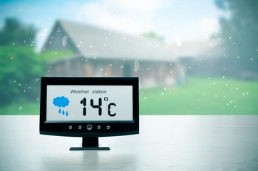 Weather station device with weather conditions outside backgroun
