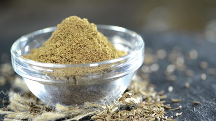 Fresh made Caraway Powder in a small bowl as loopable HD video