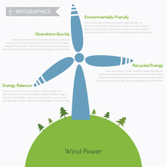 Wind power infographics, vector eps10