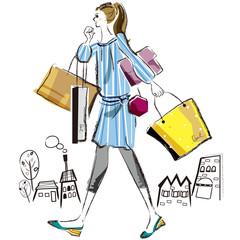 ショッピング 女性 ブルー