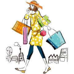 ショッピング 女性 イラスト