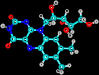 Riboflavin (B2) molecular structure on black background