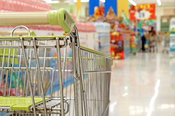 empty shopping cart with supermarket as background