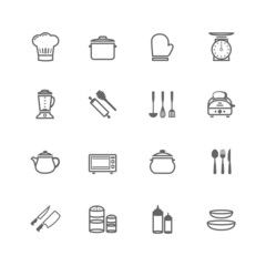 Set of Outline stroke Kitchenware icon