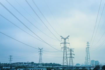 high voltage transmission pylon background