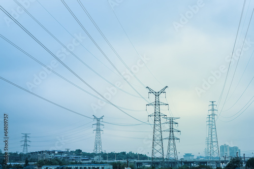 canvas print picture high voltage transmission pylon background