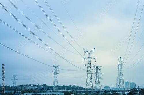 canvas print picture high voltage transmission pylon background