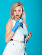 Funny sexy girl doctor nurse with syringe stethoscope
