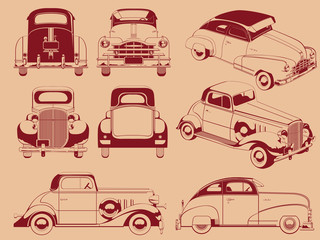 Old Car Silhouette in Several Positions