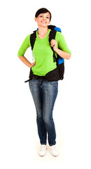 beautiful young tourist woman with backpack