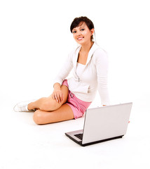 young woman studying with the laptop