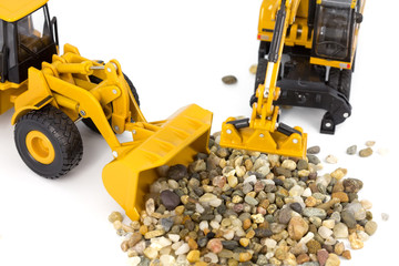 Machinery and pebbles