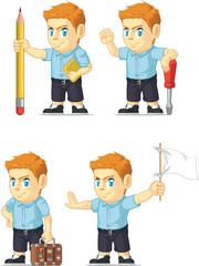 Red Head Boy Customizable Mascot 8