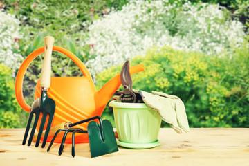 Various gardening tools in the garden outdoor