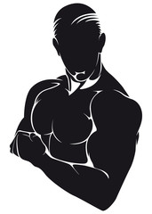 Athlete, silhouette isolated on white
