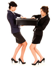 young business women pulling the big black box