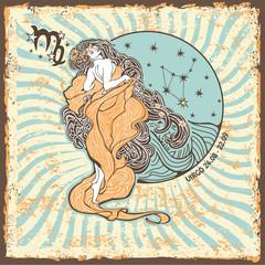 Virgo zodiac sign.Vintage Horoscope card
