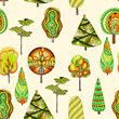 Vector seamless pattern with doodle trees