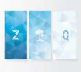 Abstract cover blue background, vector banners set.