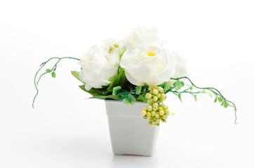 Plastic flower vase isolated white background