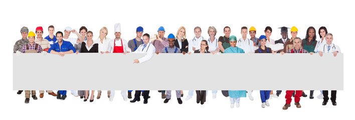 People With Various Occupations Holding Blank Billboard