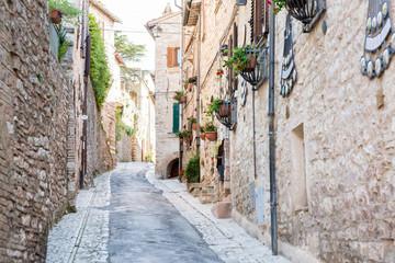 Strada medievale con fiori