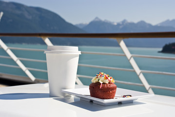 Alaska - Delight With A Cupcake And Hot Drink On The Deck