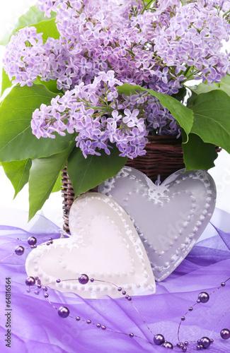 Fototapeta Valentine metal heart with flowers of lilac