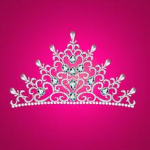 Av diadem feminin kronan med juveler på rosa