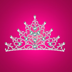 of diadem feminine crown with jewels on pink