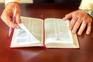 Man or Pastor studying teaching the Bible