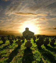 Church Cemetery At The Sunset, Serbia