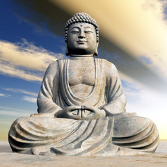 Buddha Statue bei Sonnenuntergang