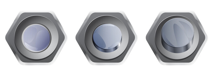 Set of silver buttons for webdesign