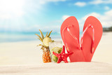 Fototapety Summer beach with red sandals and shells