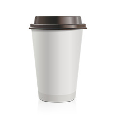 Close up take-out coffee with brown cap