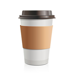 Close up take-out coffee with brown cap and cup holder