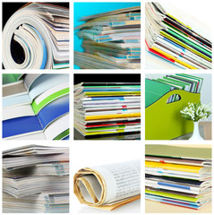 Collage of colorful magazines close-up
