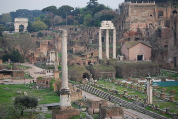Beautiful view of Imperial Forum in Rome