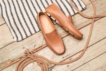 Men's Loafer Shoe on old wood