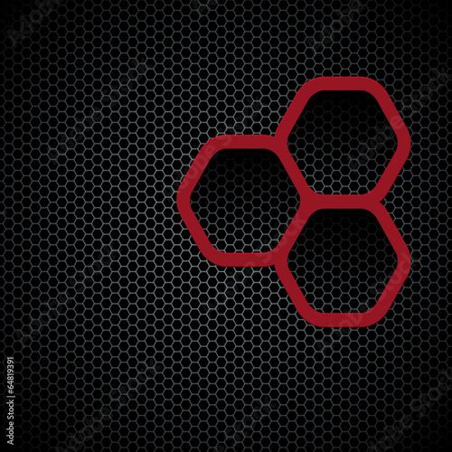 Dark background with hexagons pattern texture|64819391