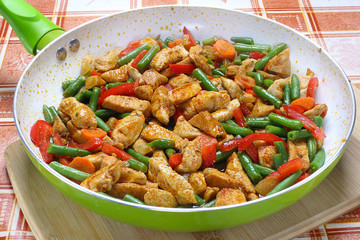 Fried chicken with vegetables in frying pan