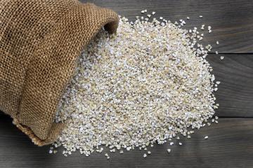 Pearl barley in canvas sack