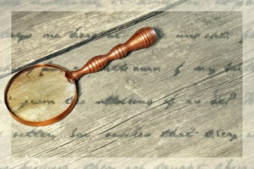 Retro Magnifying Glass and unrecognizable text, XXXL