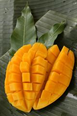 cube cut ripe mango